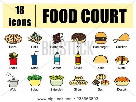 Food Court Set Of Icons, Line, Vector. Delivery Of Food, Menu Site. Color