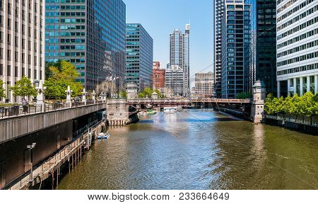 Chicago, Illinois, United States - April 23, 2012: View Of Adams Street Bridge In Chicago Downtown.