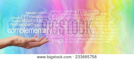 Complementary Therapy Word Tag Cloud - Female Hand Held Palm Up The Word Complementary In White Abov