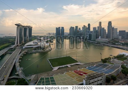 Panorama Of Singapore Business District Skyline And Singapore Skyscraper In Morning At Marina Bay, S