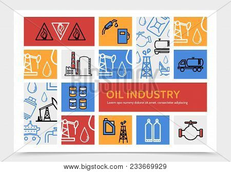 Oil Industry Infographic Concept With Flammable Sign Fuel Pump Dispenser Truck Derrick Refinery Fact