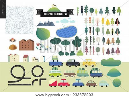 Summer Landcape Constructor Set - Kit Of City And Park Landscape Elements - Houses, Trees, Cars, Roa