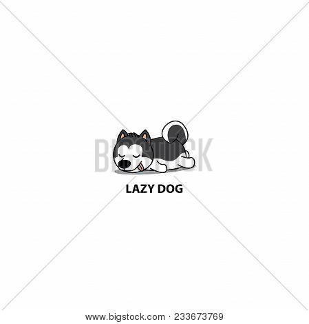 Lazy Dog, Cute Siberian Husky Puppy Sleeping Icon, Logo Design, Vector Illustration