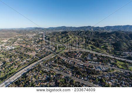 Aerial view of route 101 and 23 freeways and Westlake Blvd in suburban Thousand Oaks near Los Angeles, California.