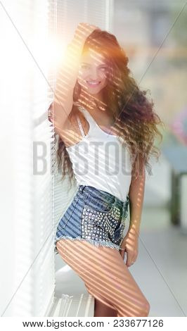 beautiful girl in short shorts