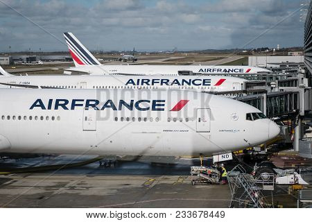 Paris, France - March 2018: Air France Airplanes At Charles De Gaulle Airport In Paris, France