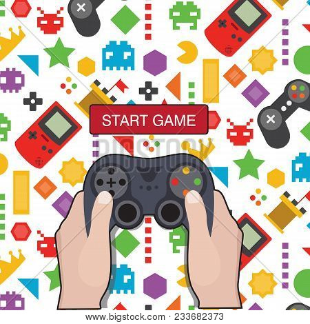 Start Game Hand Holding Game Controller Icon Game Background Vector Image