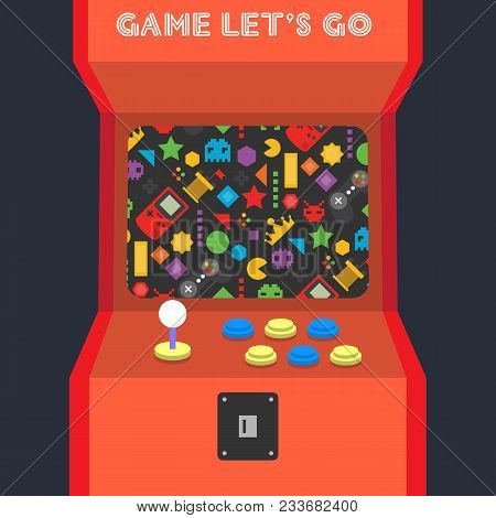 Game Lets Go Game Machine Background Vector Image