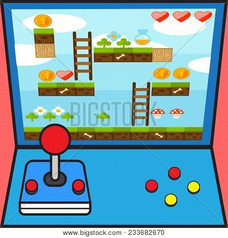 Game Machine Game Controller Game Interface Design Background Vector Image
