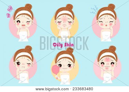 Woman With Oily Skin Problem On The Blue Background