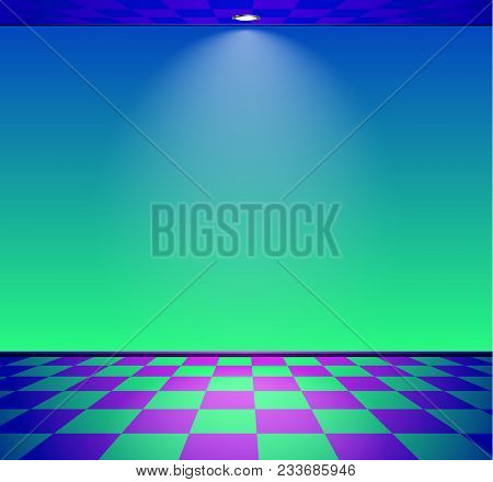 80s Styled Vapor Wave Room With Blue And Green Wall
