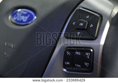 Nonthaburi,thailand - March 30, 2018 : Control Wheel Multifunction, New Ford Everest At The 39th Ban