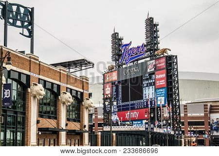 Detroit, Michigan, Usa - March 20, 2018: Exterior And Scoreboard Of Comerica Park Home To The Detroi