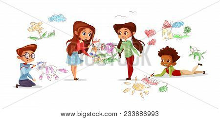 Children Drawing With Pencils Vector Illustration Of Cartoon Kids Isolated Characters In Kindergarte