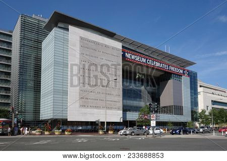 Washington D.C. /United States - August 16 2014: The Newseum is an interactive museum  tracing the evolution of communication located in Pennsylvania Ave. Washington D.C.