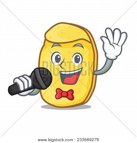 Singing Potato Chips Mascot Cartoon Vector Illustration