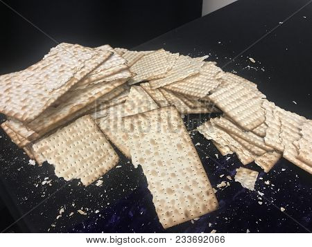 Matzah - Unleavened Flatbread Commonly Used As A Symbolic Element Of The Passover Festival In Jewish