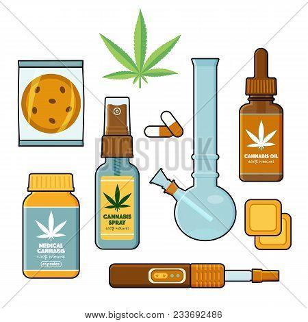 Forms Of Medical Cannabis, Marijuana Set - Pills, Oil Tincture, Spray, Patches, Cookie, Bong And Vap
