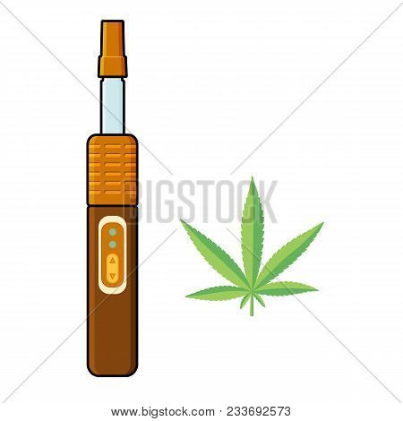 Vaporizer, Electronic Cigarette To Smoke Cannabis For Medical Purposes, Marijuana Leaf, Flat Vector