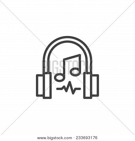 Headphones And Musical Note Outline Icon. Linear Style Sign For Mobile Concept And Web Design. Liste