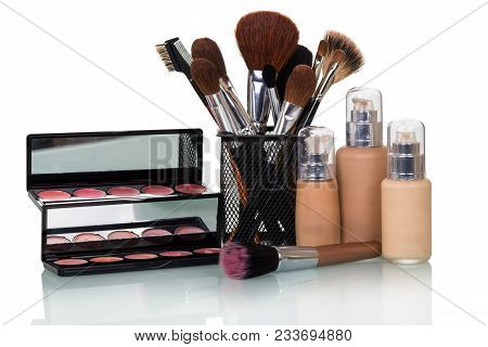 Set Of Decorative Cosmetics For Makeup, Brushes In Stand, Isolated On White Background