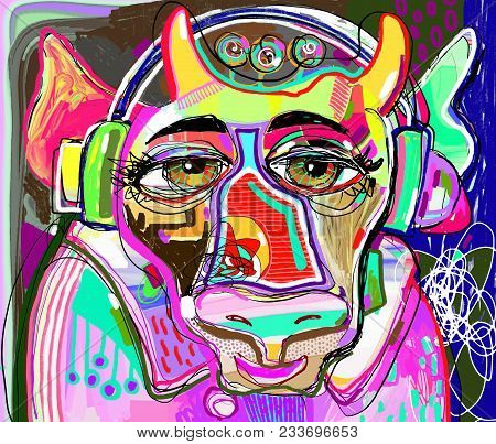 Portrait Of Colorful Cow In Pink Clothes And Headphones Listens To Music - Contemporary Art Digital
