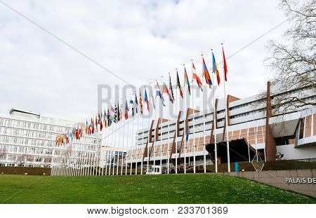 Strasbourg, France - Mar 29, 2018: All Eu Flags And Flag Of Russia Flying Half-mast At Council Of Eu
