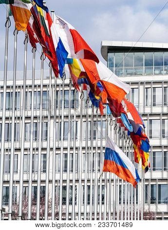 Details Of All Flags And Tricolour Russia Flying Half-mast At Council Of Europe As A Tribute And Mou