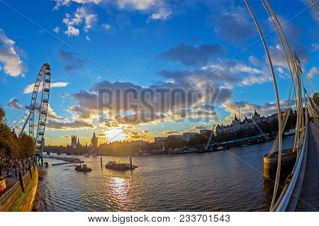 London; England - November 28; 2017: View With Famous London Eye From The Golden Jubilee Bridges Cro