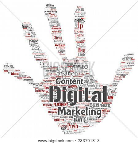Concept or conceptual digital marketing seo traffic hand print stamp word cloud isolated background. Collage of business, market content, search, web push placement or communication technology