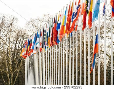 Detail View Of Flag Of Russia Flying Half-mast At Council Of Europe As A Tribute And Mourning Of Vic