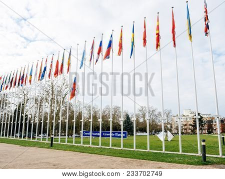 Strasbourg, France - Mar 29, 2018: Flag Of Russia Flying Half-mast At Council Of Europe As A Tribute
