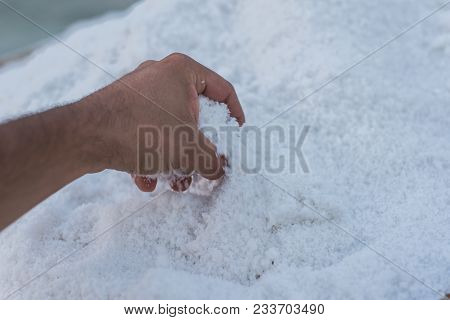One Man Picking Up Sea Salt In His Hand
