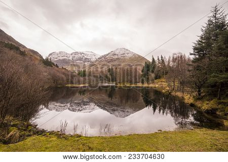 Scotland Highlands Near Glencoe, Beautiful Winter Landscape For Travel And Hiking.