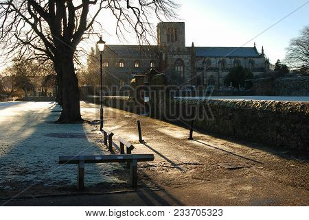 Frost And Shadows By Riverside Haddington In Scotland
