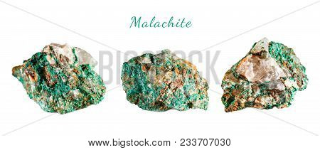 Macro Shooting Of Natural Gemstone. Raw Mineral Malachite. Morocco. Isolated Object On A White Backg