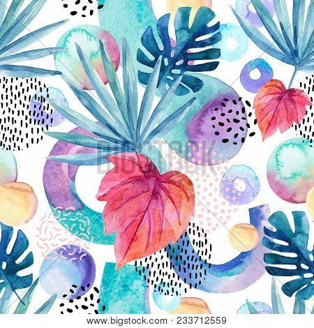 Watercolor Tropical Background. Floral Tropical Leaves And Geometric Shapes Seamless Pattern - Circl