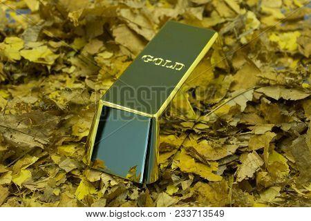 Gold Bullion Stack. Financial Concept. Set Of Gold Bars