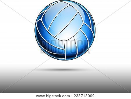 3d Abstract Logo Of Glassy Volleyball Ball.
