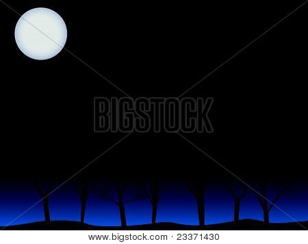 Creepy trees under full moon vector background