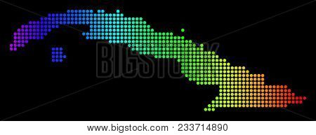 Dotted Pixelated Cuba Map. Vector Geographic Map In Bright Spectrum Colors On A Black Background. Co