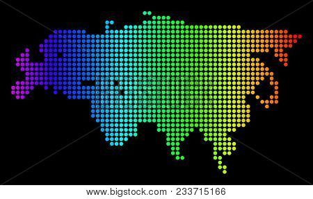 Dotted Pixel Europe And Asia Map. Vector Geographic Map In Bright Spectrum Colors On A Black Backgro