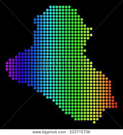 Dotted Pixel Iraq Map. Vector Geographic Map In Bright Spectrum Colors On A Black Background. Multic