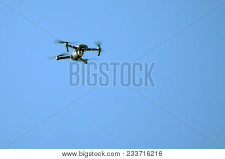 Drone Hovering In Blue Sky Camera Clouds Control,