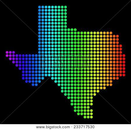 Dotted Pixelated Texas Map. Vector Geographic Map In Bright Spectrum Colors On A Black Background. C