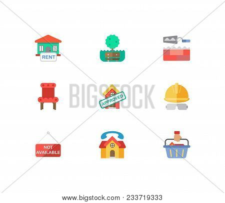 Building Icons Set. House For Rent And Building Icons With Construction Service, House Not Available