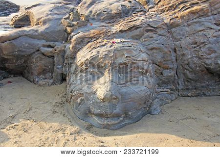 The Face Of Shiva Is Made Of Stone In Anjuna. India. Stone Carving, Art.