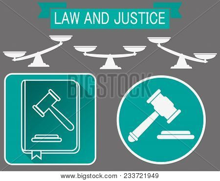 Vector Law Book Icon, Legal Judge Book, Judgment Concept, Law And Justice.