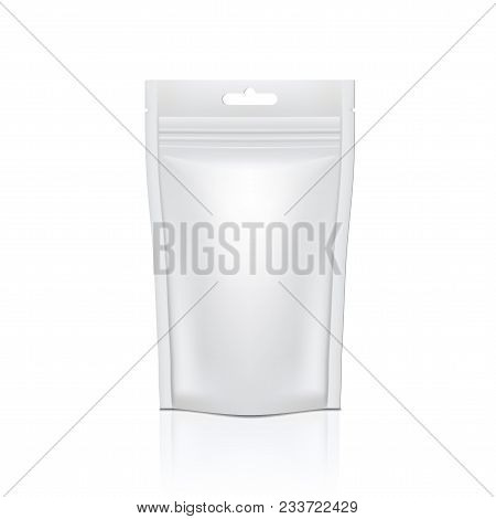 White Glossy Foil Doy Pack With Zipper For Food Or Cosmetics