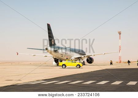 Aqaba, Jordan - December, 26, 2017: Airplane On The Runway In Airport In A Summer Sunny Day In Jorda
